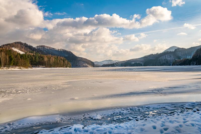 Djupfryst sjö som omges av skogen royaltyfri fotografi
