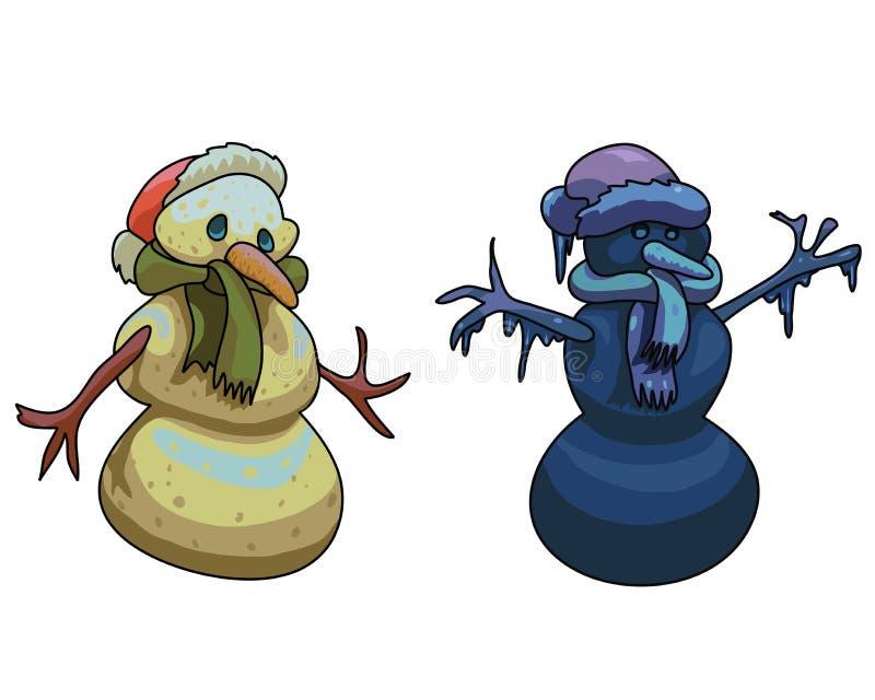 Djupfryst snögubbe och smältande vektorillustration för snögubbe royaltyfri illustrationer