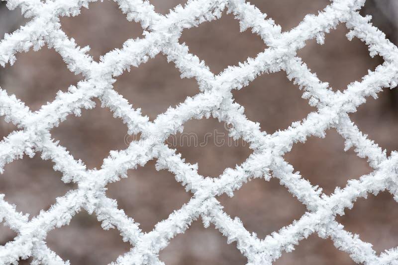 Djupfryst staket på en kall vinterdag arkivfoton