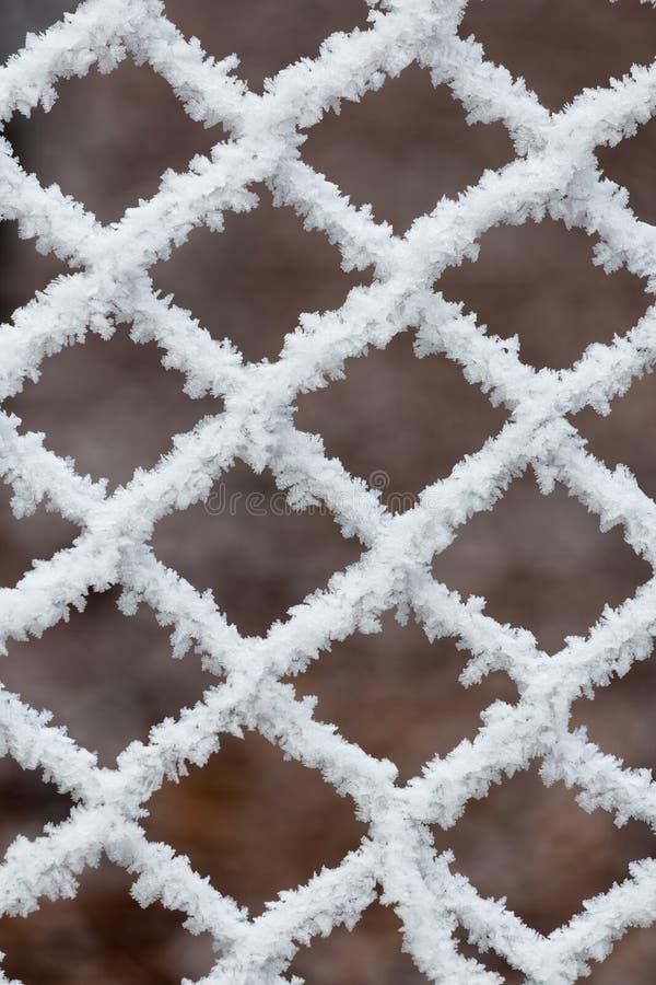 Djupfryst staket på en kall vinterdag arkivbild