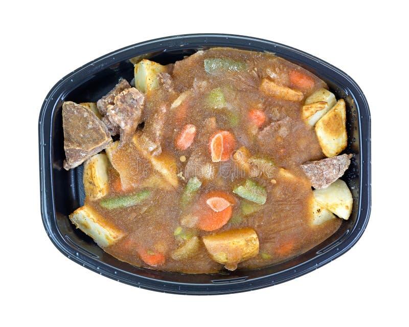 Djupfryst steknötkött- och grönsaktvmatställe royaltyfria foton