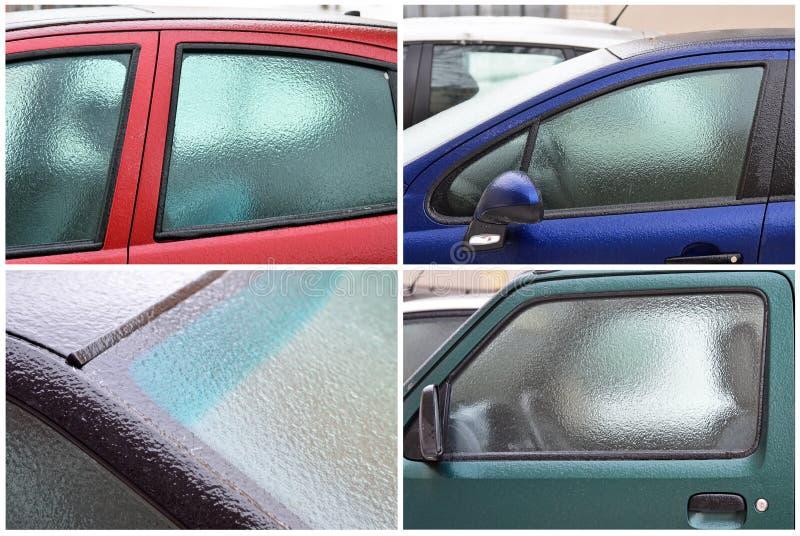 Djupfrysta bilfönster arkivfoto