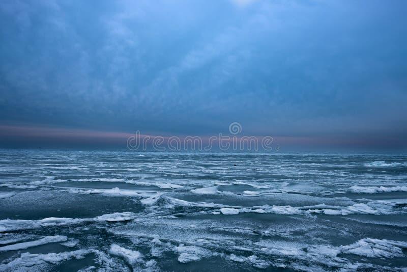 Djupfrysta vågor på Lake Michigan royaltyfri bild