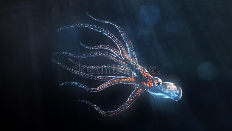 djupt bläckfiskhav stock illustrationer