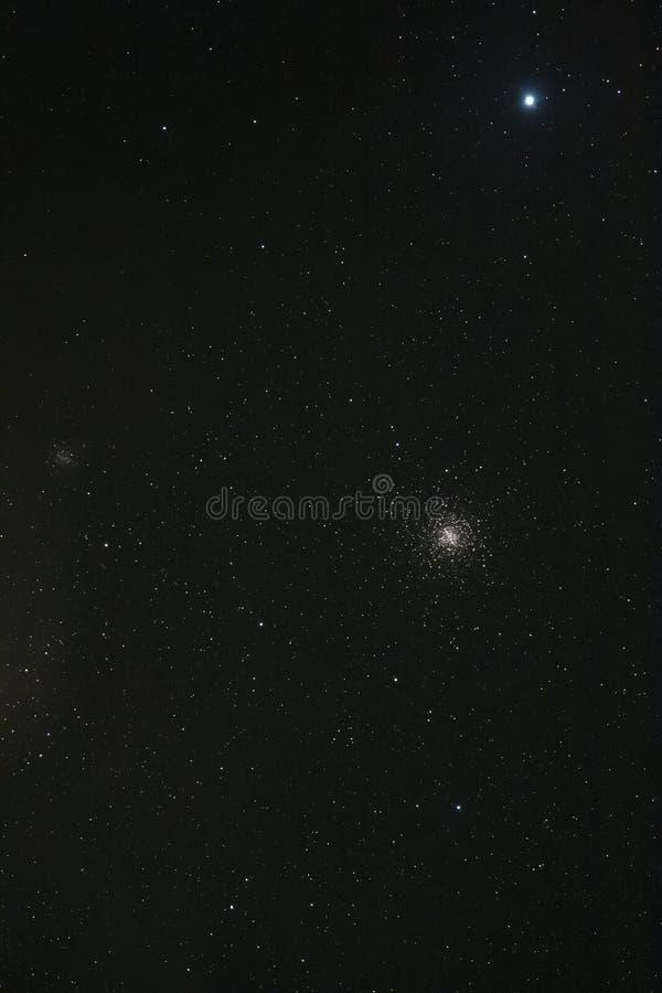 Djupt himmelfoto av den täta stjärnor och stjärnaklungan royaltyfri bild