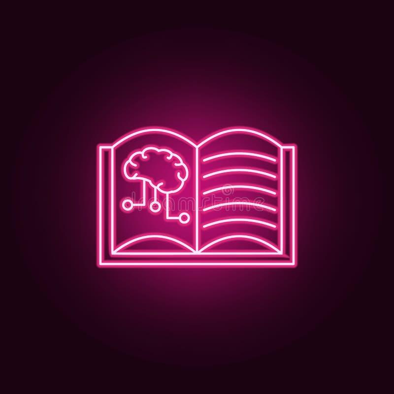 Djupt lära hjärnsymbolen för konstgjord intelligens Beståndsdelar av konstgjort i neonstilsymboler Enkel symbol för websites, ren royaltyfri illustrationer