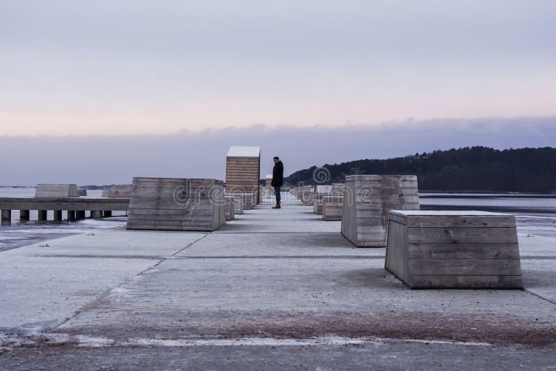 Djupt perspektiv av en man på en pir i vinter royaltyfri fotografi