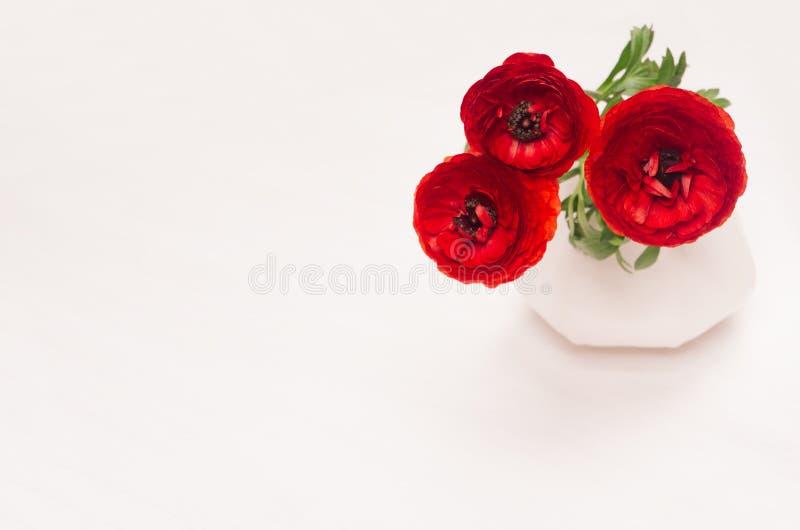 Djupt - röd blommabukett i vas på vit wood bakgrund Festlig sommardekor för inre fotografering för bildbyråer
