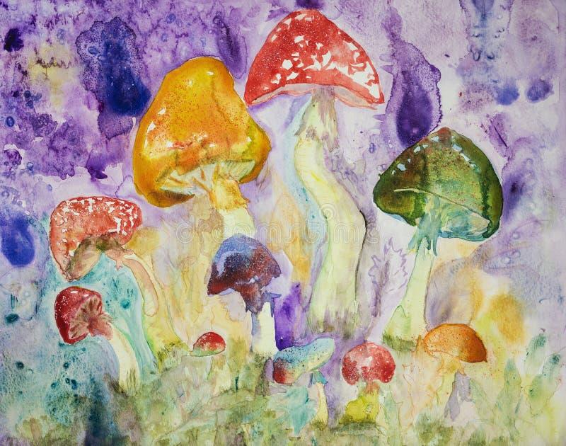 Djupt - röda, orange, blåa och gröna psykedeliska champinjoner med stänk stock illustrationer