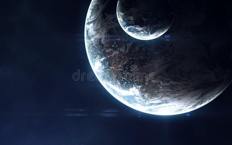 Djupt utrymme, exoplanets i ljus av den blåa stjärnan Abstrakt science Beståndsdelar av bilden möbleras av NASA arkivbilder