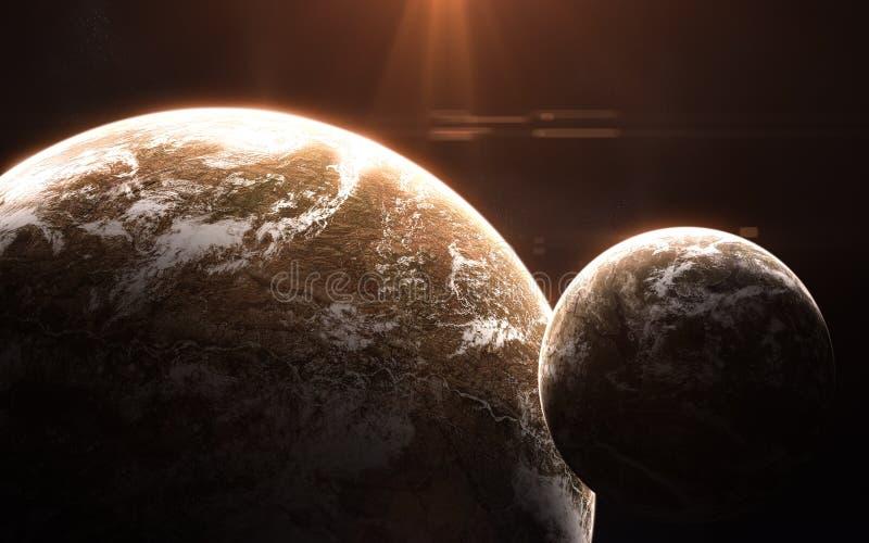 Djupt utrymme, exoplanets i ljus av den röda stjärnan Abstrakt science Beståndsdelar av bilden möbleras av NASA royaltyfria bilder