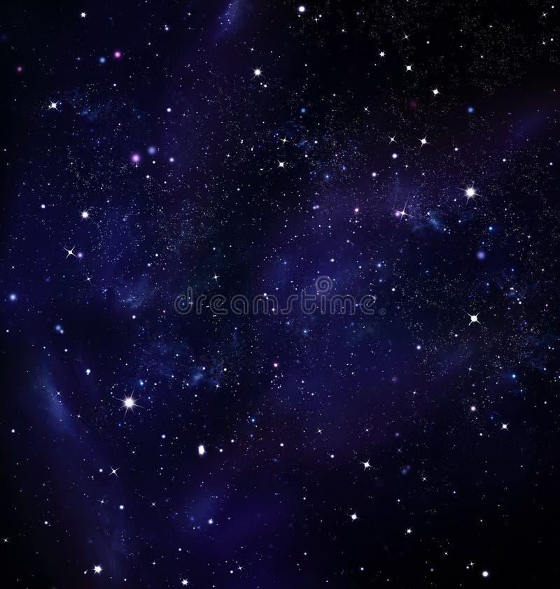 Djupt utrymme, stjärnklar himmel stock illustrationer