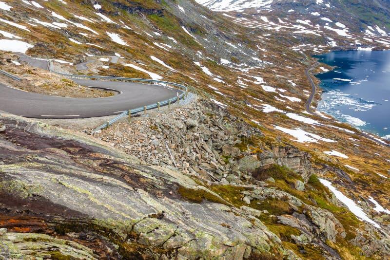 Djupvatnet droga Dalsnibba góra Norwegia i jezioro fotografia stock