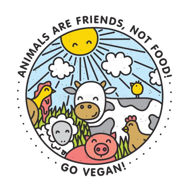 Djur är vänner, inte mat går veganen Isolerad vektorillustration stock illustrationer