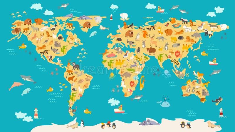 Djur översikt för unge Världsvektoraffisch för barn, illustrerat gulligt vektor illustrationer