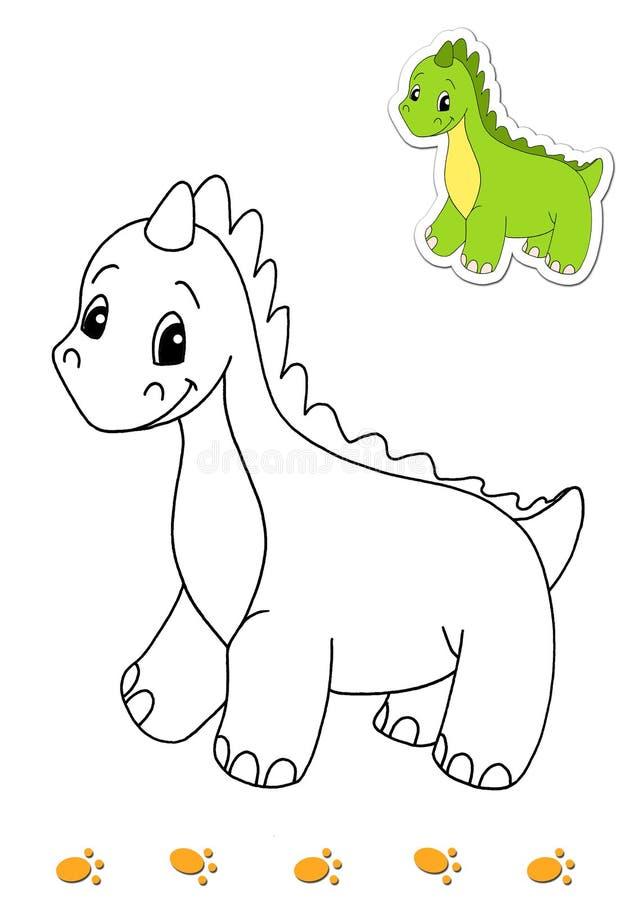 djur 1 book färgläggningdinosauren stock illustrationer