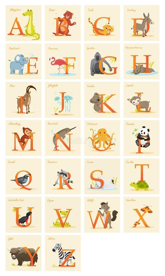Djur alfabetuppsättning stock illustrationer