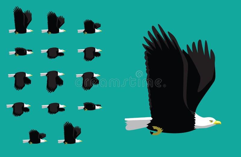 Djur animeringföljdamerikan Eagle Flying Cartoon Vector royaltyfri illustrationer