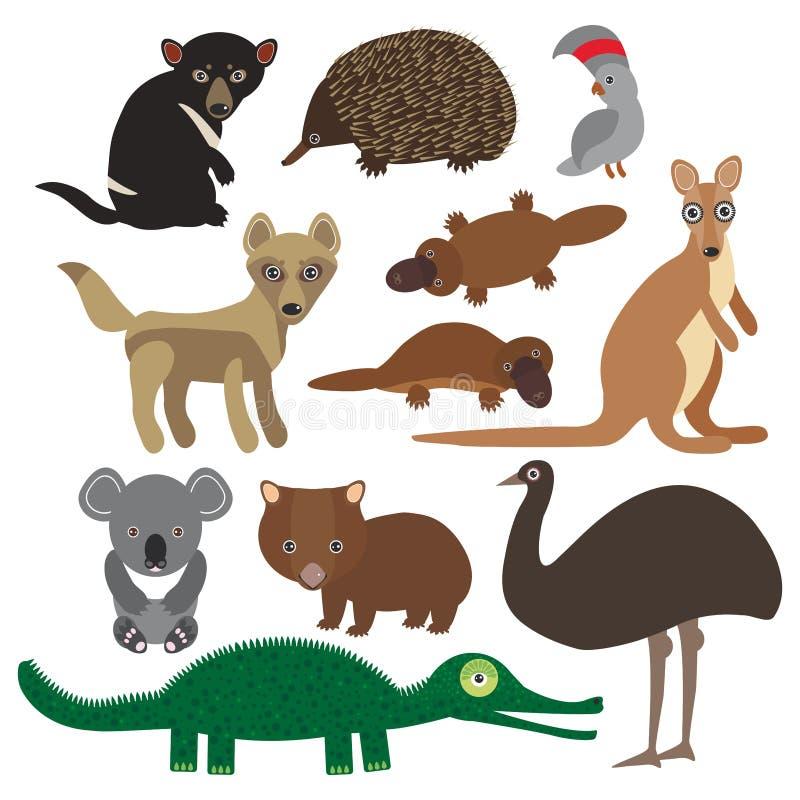 Djur Australien: Dingo för känguru för krokodil för vombat för papegoja för kakadua för Tasmanian jäkel för emu för Echidnanäbbdj vektor illustrationer