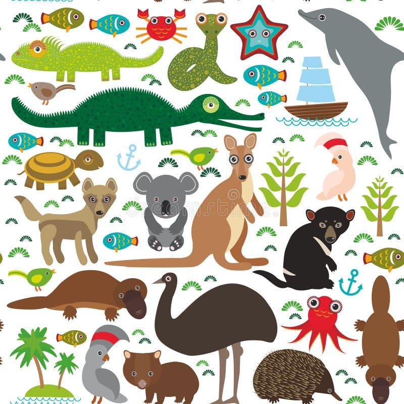 Djur Australien: Octop för dingo för känguru för krokodil för sköldpadda för orm för vombat för papegoja för kakadua för Tasmania royaltyfri illustrationer