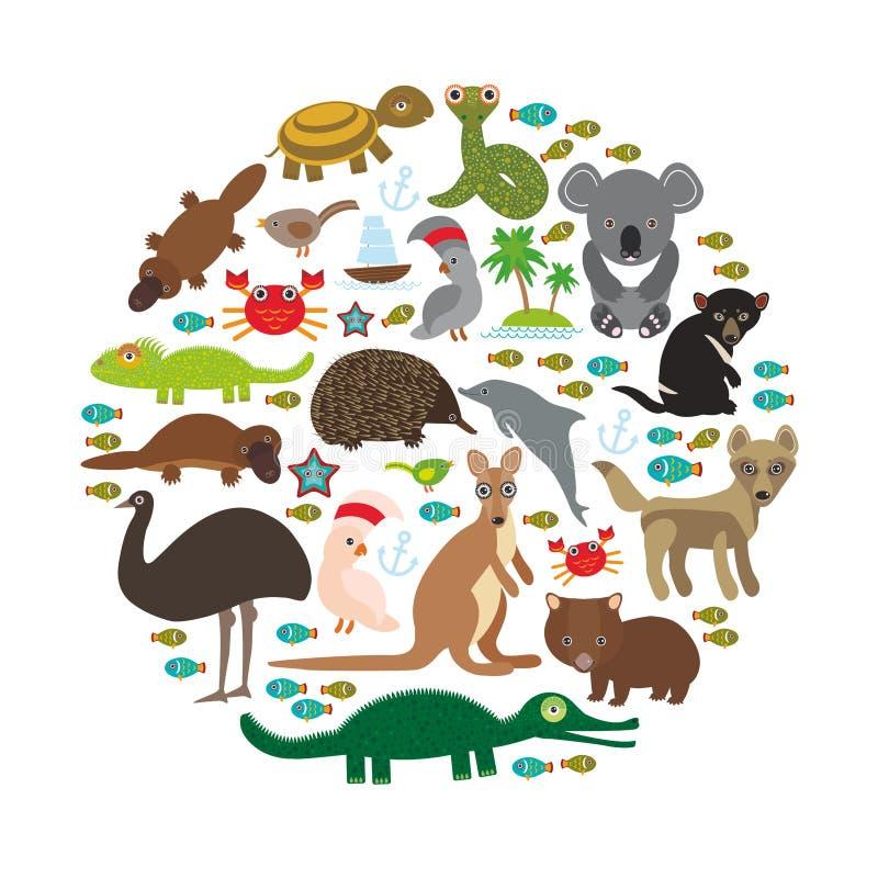 djur Australien Octop för dingo för känguru för krokodil för sköldpadda för orm för vombat för papegoja för kakadua för Tasmanian stock illustrationer