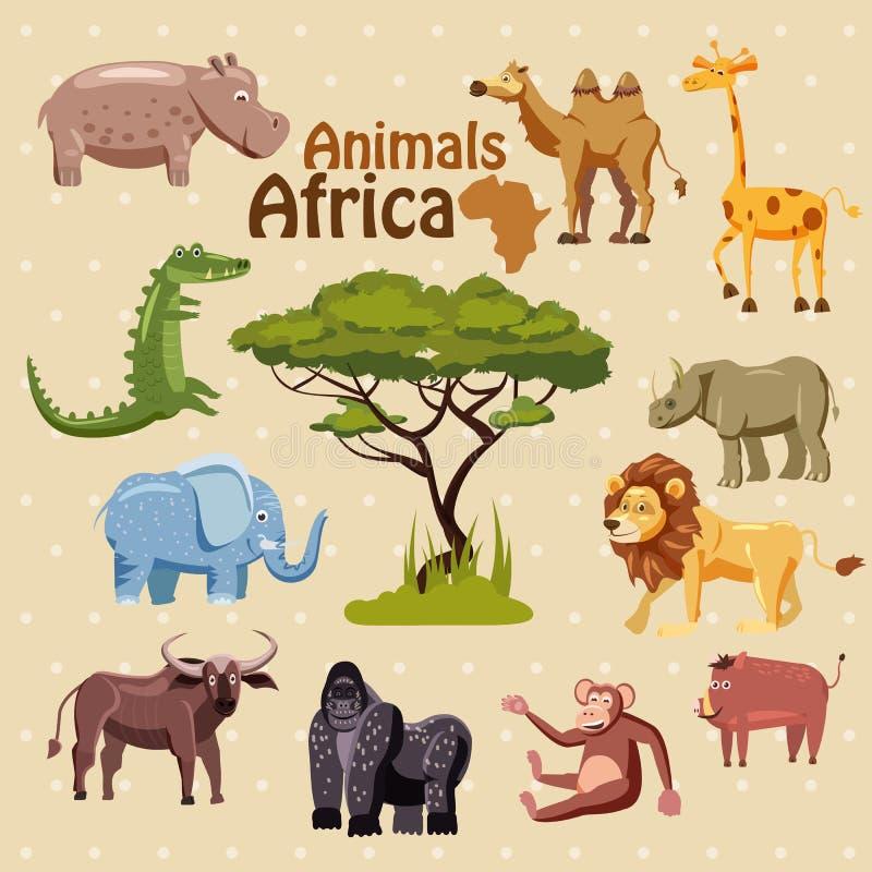 Djur av Afrika, noshörning, lejon, galt, apa, gorilla, buffel, elefant, krokodil, flodhäst, kamel, giraff, tecknad film stock illustrationer