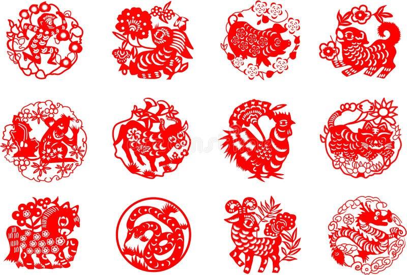 Djur av den kinesiska kalendern vektor illustrationer