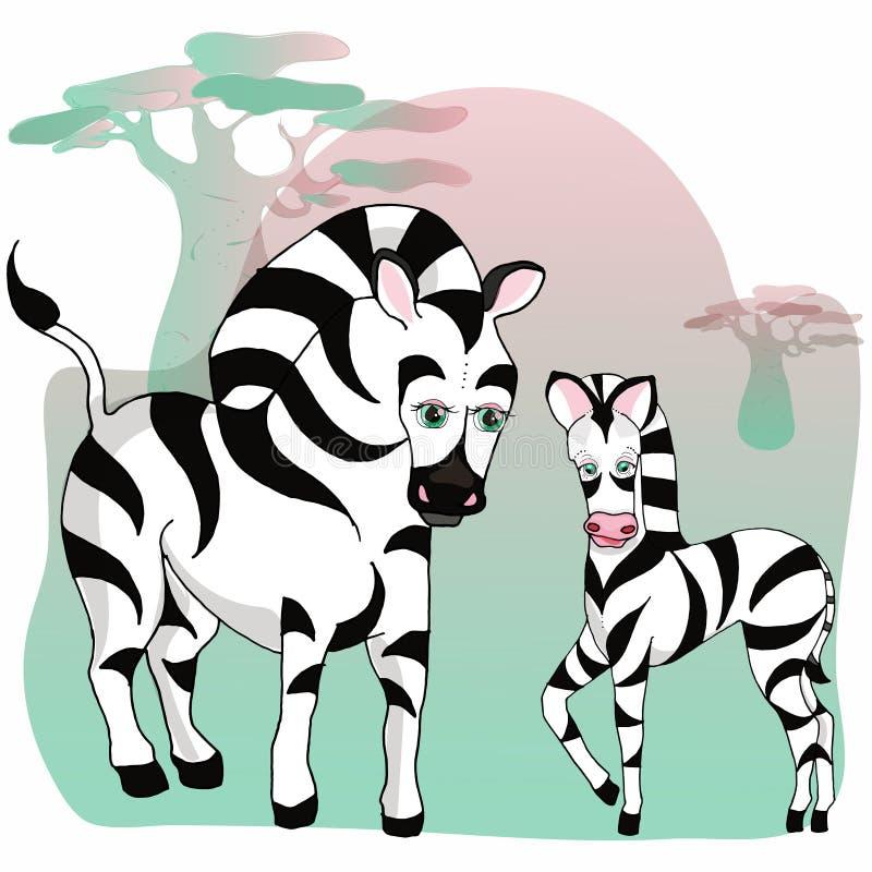 Djur av det löst Zoodjur behandla som ett barn sebran vektor illustrationer