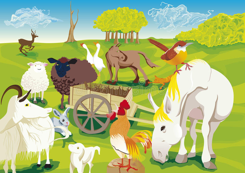 Djur av lantgården stock illustrationer