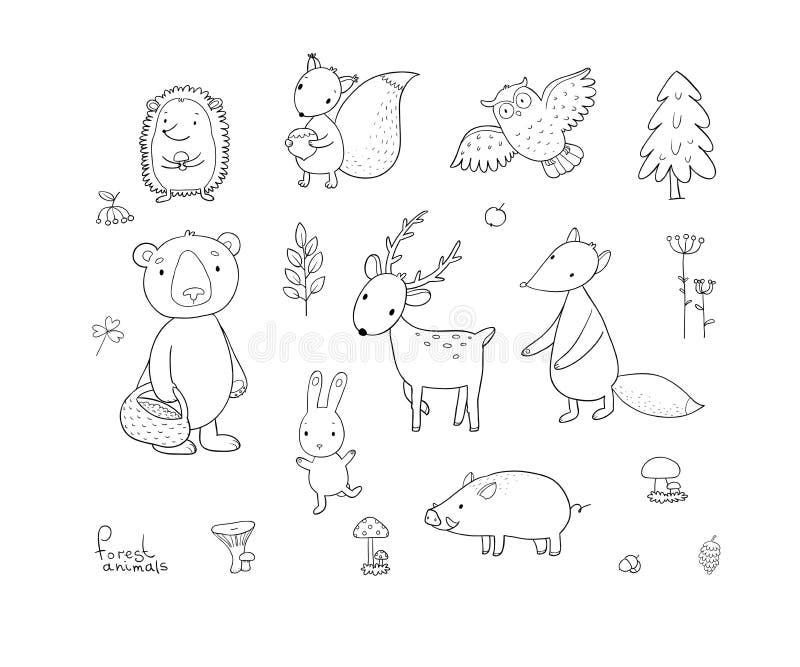 Djur av skoguppsättningen med gulliga tecknad filmbjörnar, räv, hare och ekorre, uggla och hjortar Design för barn - vektor stock illustrationer