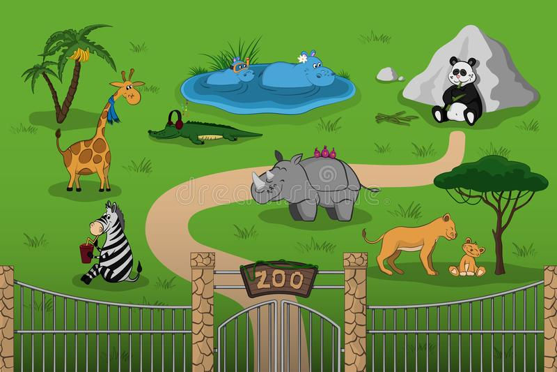 Djur av zoo i tecknad filmstil Plats med roliga tecken Djurlivaffisch royaltyfri illustrationer