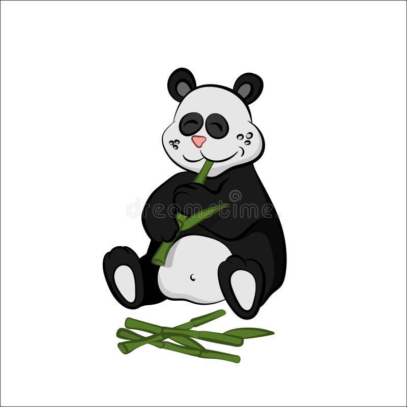 Djur av zoo Panda som äter bambu i tecknad filmstil Isolerat gulligt tecken royaltyfri illustrationer