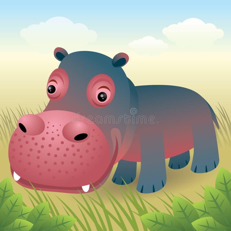 djur behandla som ett barn samlingsflodhäst stock illustrationer