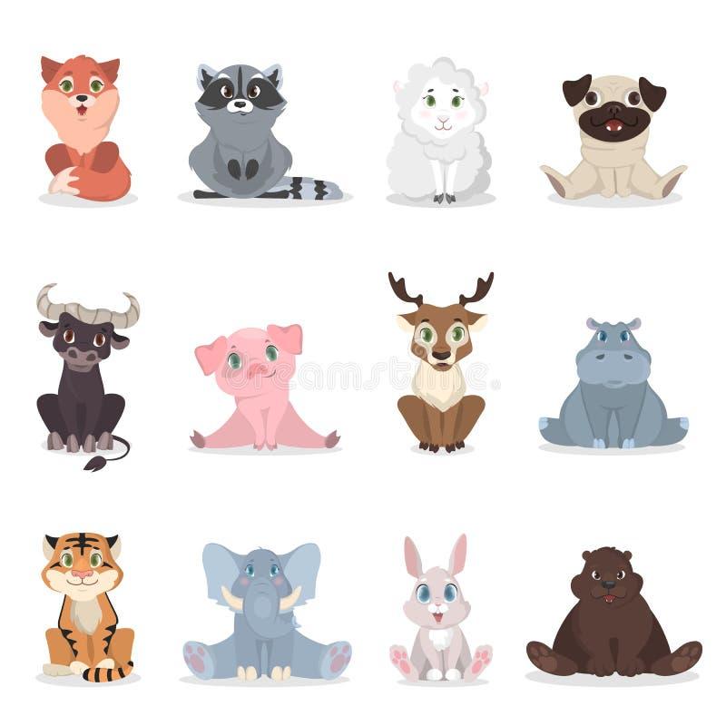 djur behandla som ett barn seten royaltyfri illustrationer