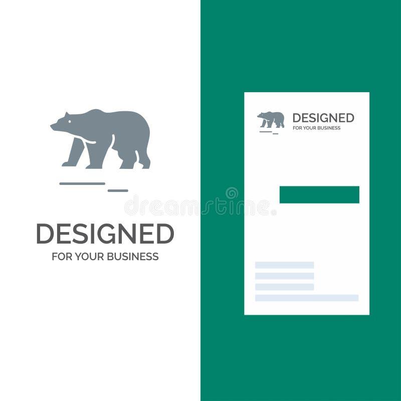 Djur, björn, polart, Kanada Grey Logo Design och mall för affärskort vektor illustrationer
