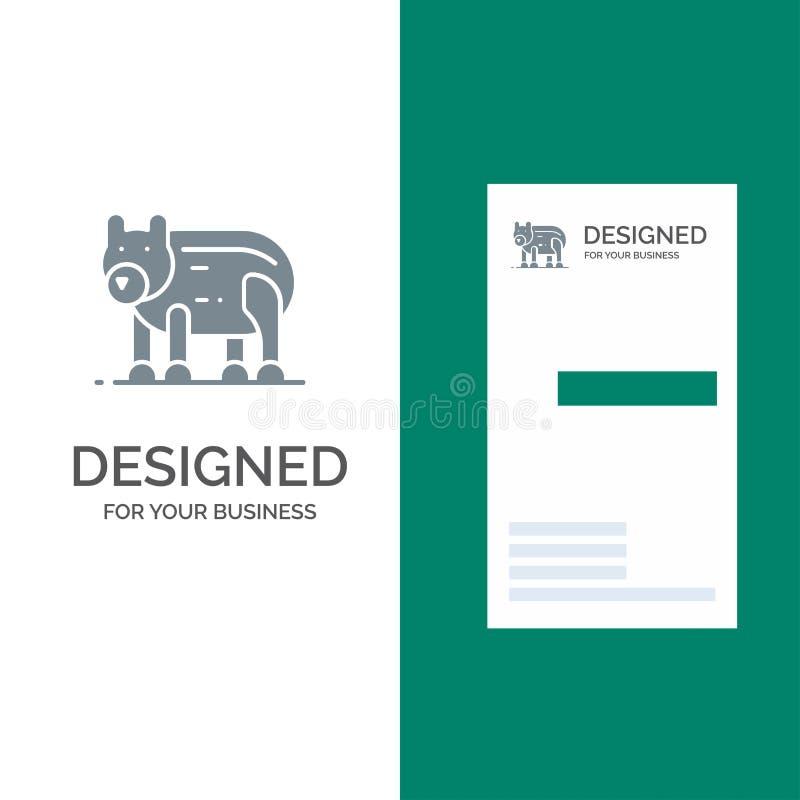 Djur, björn, polart, Kanada Grey Logo Design och mall för affärskort royaltyfri illustrationer