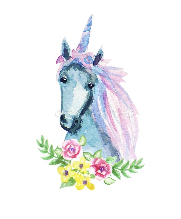 Djur blom- illustration för vattenfärg - enhörning med blomma- och fjäderbeståndsdelar för att gifta sig, årsdag, födelsedag, inb stock illustrationer