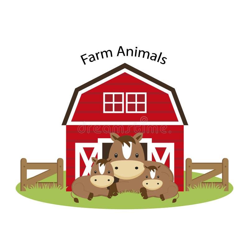 djur brukar lyckligt Gullig illustration för hästfamiljtecknad film stock illustrationer