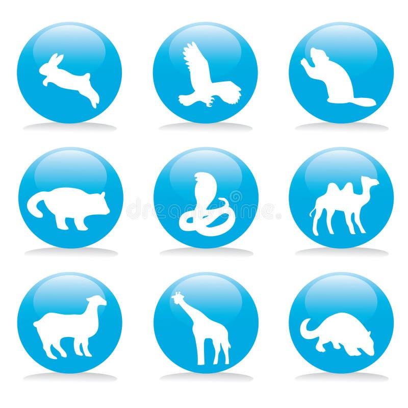djur button set wild royaltyfri bild