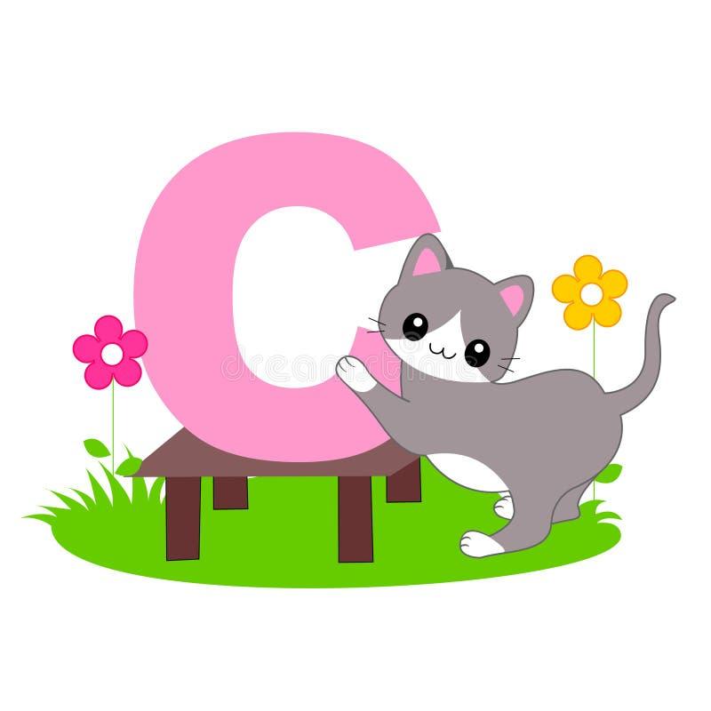 djur c bokstav för alfabet royaltyfri illustrationer