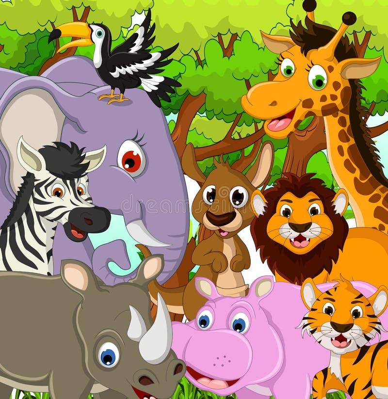 Djur djurlivtecknad film med tropisk skogbakgrund vektor illustrationer
