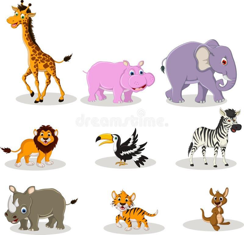 Djur djurlivtecknad filmsamling stock illustrationer