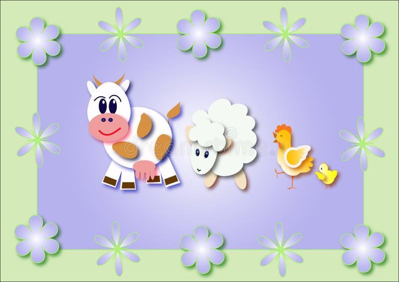 djur easter royaltyfri illustrationer