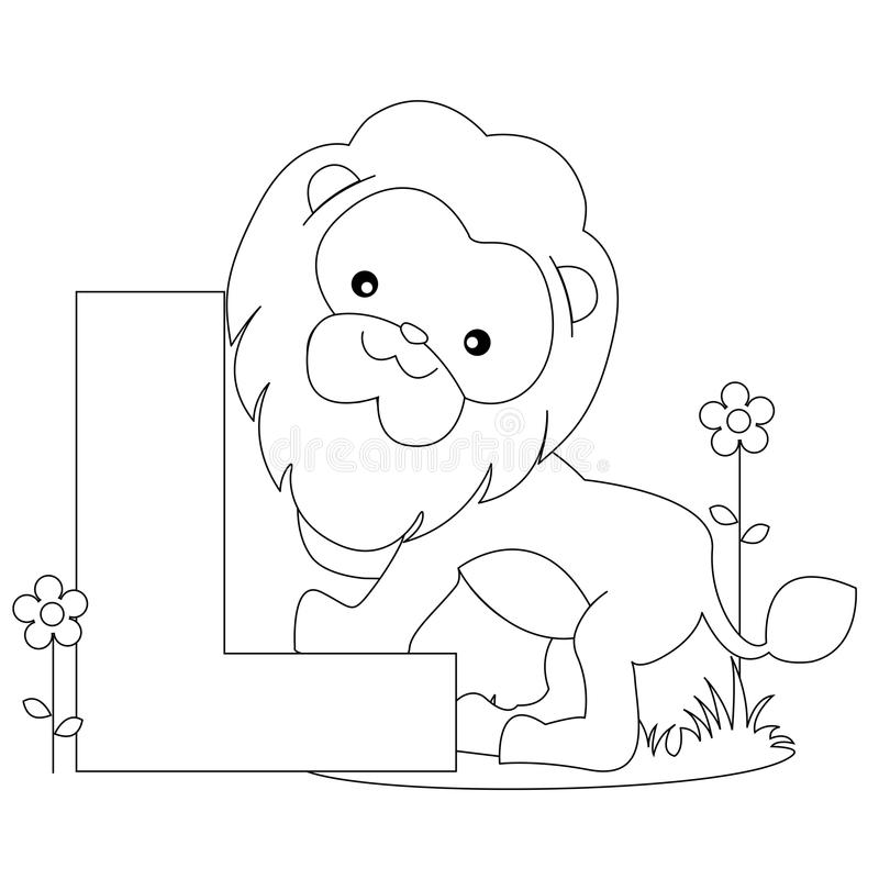djur färgläggning l sida för alfabet