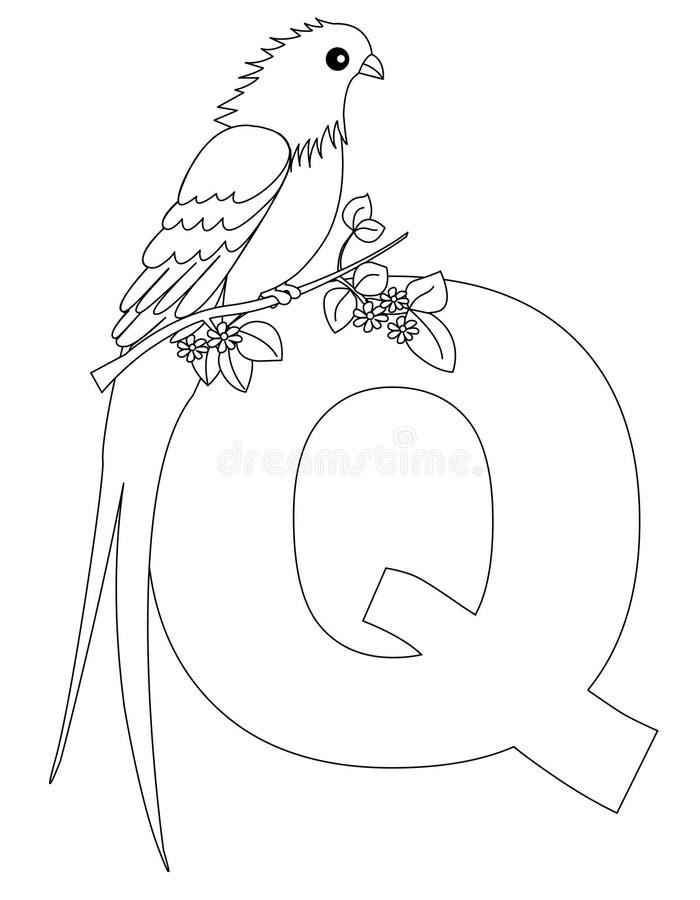 djur färgläggningsida q för alfabet stock illustrationer