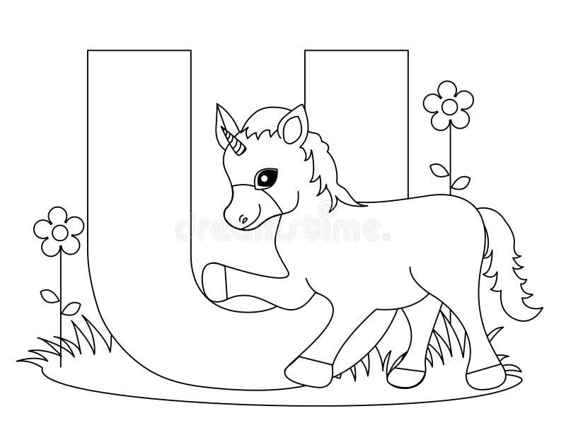 djur färgläggningsida u för alfabet vektor illustrationer
