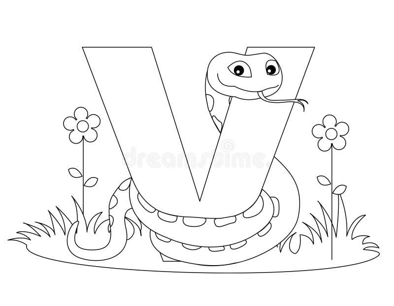 djur färgläggningsida v för alfabet vektor illustrationer