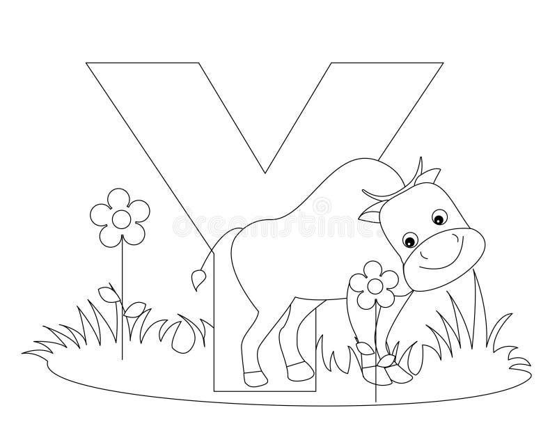 djur färgläggningsida y för alfabet