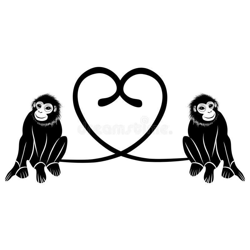 Djur förälskelse Par av gulliga apor formade hjärta av svansar, valentinillustration stock illustrationer
