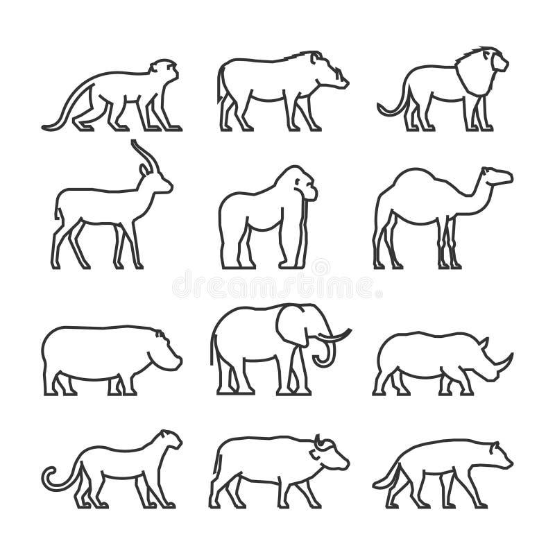 Djur för afrikan för vektoruppsättningöversikt royaltyfri illustrationer